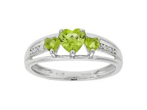 Metro Jewelry Women's Sterling Silver Ring with Peridot and Diamond Size 5