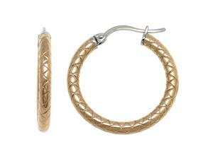 Metro Jewelry Textured Gold Gold-Tone Steel Fashion Hoop Earrings