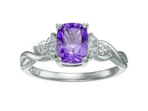 10K White Gold, Purple Amethyst and White Topaz Cushion Ring Size 5