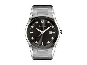 Bulova 96D104 Men's Bracelet Watch - Black Dial 8 Diamonds