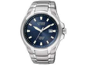 Citizen Eco-Drive Blue Dial Titanium Mens Watch BM7170-53L