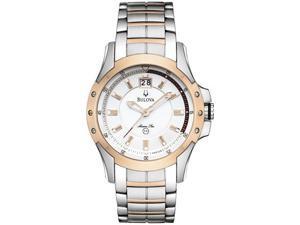 Bulova Mens Marine Star Silver And White Dial Bracelet Watch 98B129