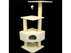 "52"" Casita Bungalow Cat Tree - Faux Sheepskin - by Majestic Pet"