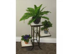 3 Tier Plant Stand w/ Travertine Top