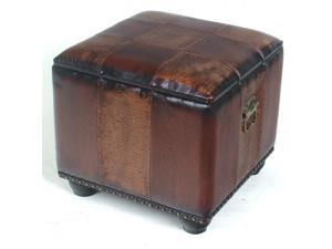 Square Faux Leather Ottoman with Lid - by International Caravan