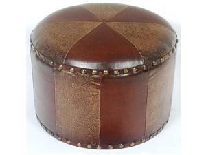 Mini Round Faux Leather Stool - by International Caravan