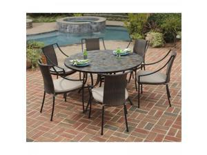 Stone Harbor 7PC Dining Set with Round Table and Six Laguna Arm Chairs - by Home Styles