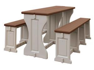 All Resin Picnic Table/Bench Set - Redwood/Warm gray - by Confer Plastics