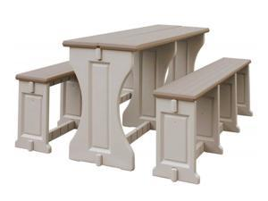 All Resin Picnic Table/Bench Set - Taupe/Warm Gray - by Confer Plastics