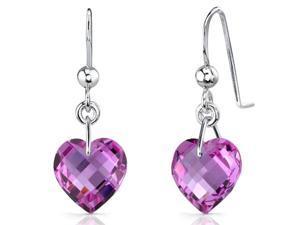 Extraordinary 9.75 carats Heart Shape Pink Sapphire earrings in Sterling Silver