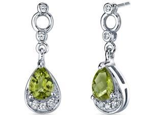 Oravo SE7142 1.50 Cttw Peridot Dangle Earrings in Sterling Silver