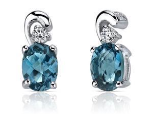 Sleek and Radiant 1.50 Carats London Blue Topaz Earrings in Sterling Silver