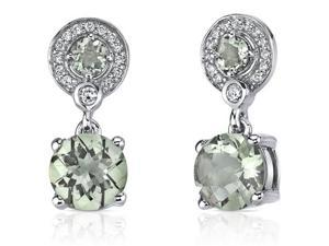 Refined Elegance 3.50 Carats Green Amethyst Dangle Earrings in Sterling Silver