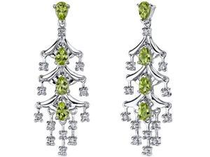 Captivating Seduction 4.00 Carats Peridot Dangle Earrings in Sterling Silver