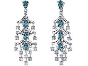 Captivating Seduction 4.00 Carats London Blue Topaz Dangle Earrings in Sterling Silver