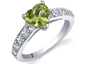 Dazzling Love 1.25 Carats Peridot Ring in Sterling Silver Size 6