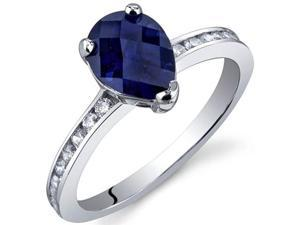 Uniquely Sophisticated 1.50 Carats Blue Sapphire Ring in Sterling Silver Size 7