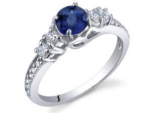 Enchanting 0.75 Carats Blue Sapphire Ring in Sterling Silver Size 7