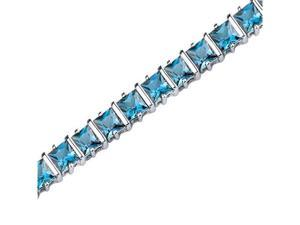 Gracefully Impressive: 13.25 carats total weight Princess Cut London Blue Topaz Gemstone Bracelet in Sterling Silver