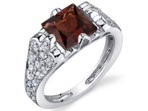 Elegant Opulence 2.00 Carats Garnet Ring in Sterling Silver Size 8