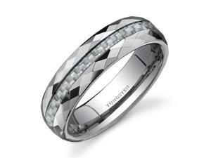 Faceted Edge White Carbon Fiber 6mm Comfort Fit Mens Tungsten Wedding Band Ring Size 10.5