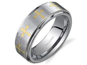Cross Motif 8 mm Comfort Fit Mens Silver Tone Tungsten Wedding Band Ring Size 11.5