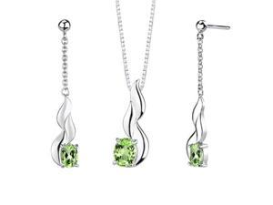 3.50 carats Oval Shape Peridot Pendant Earrings Set in Sterling Silver