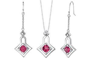 Princess Cut Ruby Pendant Earrings Set in Sterling Silver