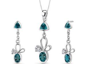Dynamic 3.25 carats Trillion and Oval Cut Sterling Silver London Blue Topaz Pendant Earrings Set