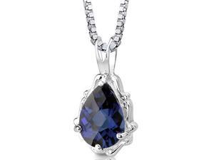 Imperial Beauty Pear-Shaped Checkerboard-Cut Blue Sapphire Pendant with 18-inch Sterling Silver Necklace