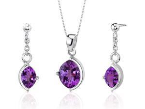 Museum Design 4.00 carats Marquise Cut Sterling Silver Amethyst Pendant Earrings Set