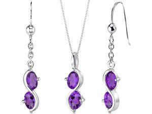 2 Stone 2.25 carats Oval Shape Sterling Silver Amethyst Pendant Earrings Set