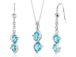 Oravo 3.75 Ct. 2-Stone Oval Swiss Blue Topaz Sterling Silver Pendant Necklace and Earrings Set