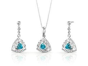Filigree Design 1.50 carats Trillion Cut Sterling Silver Swiss Blue Topaz Pendant Earrings Set