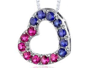 Sterling Silver with 2.00 carats total weight Round shape Ruby and Blue Sapphire Open Heart Pendant