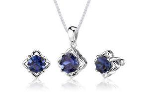 Exclusive Sophistication: 10.25 carat Concave-Cut Snowflake Blue Sapphire Pendant Earring Set in Sterling Silver