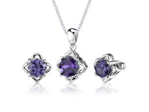 Exclusive Splendor: 10.00 carat Concave-Cut Snowflake Shape Alexandrite Pendant Earring Set in Sterling Silver
