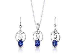 Sterling Silver Oval Shape Sapphire Pendant Earrings and 18 inch Necklace Set