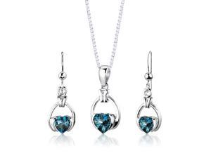 Sterling Silver 2.25 carats total weight Heart Shape London Blue Topaz Pendant Earrings and 18 inch Necklace Set