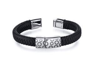 Mens Circle Motif Black Woven Leather Stainless Steel Bracelet