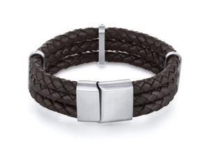 Mens Triple Layer Brown Woven Leather Bracelet