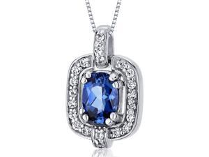 Dazzling Opulence 1.00 carats Oval Cut Sterling Silver Blue Sapphire Pendant with 18 inch Silver Necklace