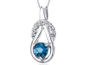 """Oravo Elegant Glamour 0.50 cttw Round London Blue Topaz Sterling Silver Pendant with 18"""" Necklace"""
