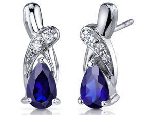 Graceful Glamour 2.00 Carats Blue Sapphire Pear Shape Cubic Zirconia Earrings in Sterling Silver