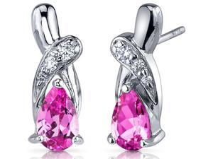 Graceful Glamour 2.00 Carats Pink Sapphire Pear Shape Cubic Zirconia Earrings in Sterling Silver