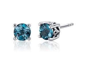 Scroll Design 2.00 Carats London Blue Topaz Round Cut Stud Earrings in Sterling Silver