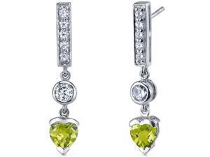Exotic Love 1.50 Carats Peridot Heart Shape Dangle Cubic Zirconia Earrings in Sterling Silver