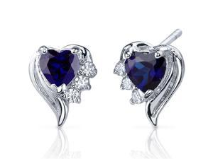 Oravo SE7378 Cupids Grace 1.50 Cttw Heart Shaped Blue Sapphire Cubic Zirconia in Sterling Silver Earrings