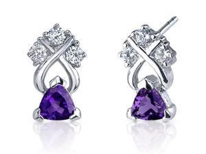 Regal Elegance 1.00 Carats Amethyst Trillion Cut Cubic Zirconia Earrings in Sterling Silver