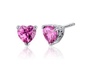 Oravo SE7992 2.00 Ct. Heart Shaped Created Pink Sapphire in Sterling Silver Stud Earrings